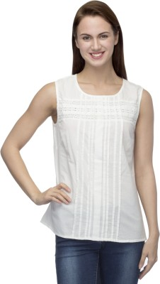 Primo Knot Casual Sleeveless Solid Women's White Top