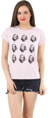 Marilyn Monroe Casual Short Sleeve Printed Women,s Purple Top