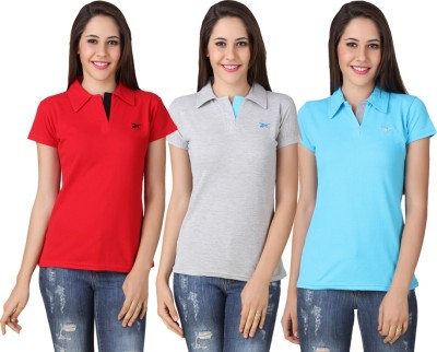 Yati Casual Short Sleeve Solid Women's Red, Grey, Blue Top