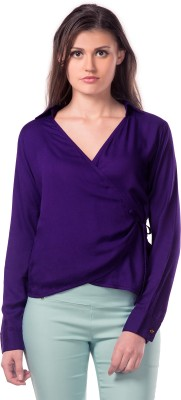 Miss Chase Casual Full Sleeve Solid Women's Purple Top