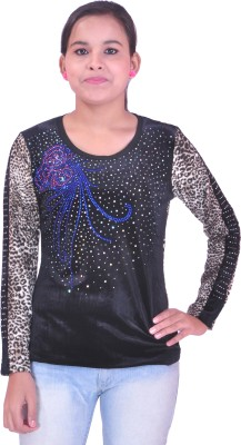 Krazzy Collection Festive Full Sleeve Animal Print Women's Black Top