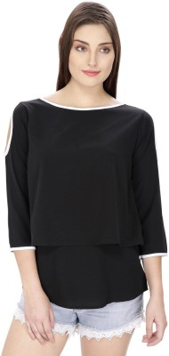 Pops N Pearls Casual 3/4 Sleeve Solid Women's Black Top