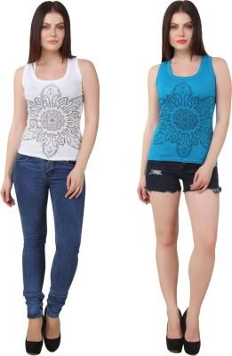 Yati Casual Sleeveless Printed Women's White, Blue Top