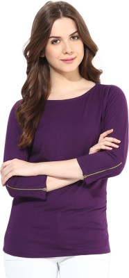 Miss Chase Casual 3/4th Sleeve Solid Women's Purple Top at flipkart