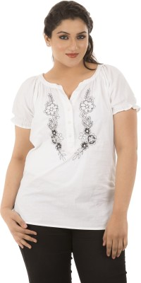 LASTINCH Casual Short Sleeve Embroidered Women's White Top at flipkart