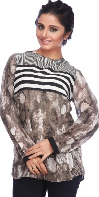 Life by Shoppers Stop Casual Full Sleeve Striped, Printed Women's Dark Green Top