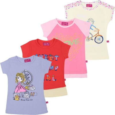 Spn Garments Casual Short Sleeve Graphic Print Girl,s Yellow, Purple, Pink, Red Top