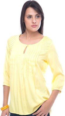 Virsa Casual 3/4 Sleeve Solid Women,s Yellow Top