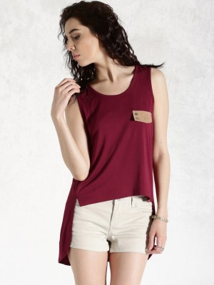 Roadster Casual Sleeveless Solid Women's Maroon Top