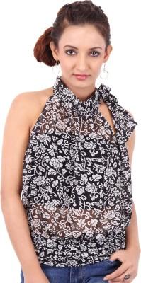 Clo Clu Casual Sleeveless Printed Women,s Black Top