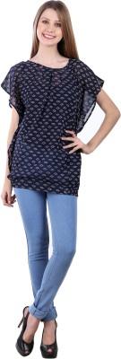 Selfiwear Casual Short Sleeve Printed Women's Dark Blue Top