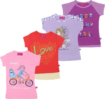 Spn Garments Casual Short Sleeve Graphic Print Girl,s Red, Purple, Pink, Purple Top