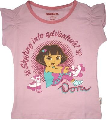 Dora Casual Short Sleeve Printed Girl's Pink Top