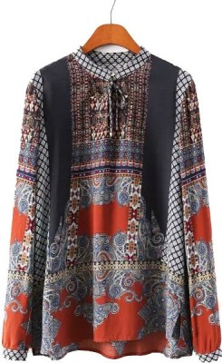 Gifts & Arts Casual Full Sleeve Printed Women,s Grey, Red Top