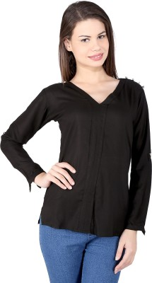 pinklady Casual Full Sleeve Solid Women's Black Top