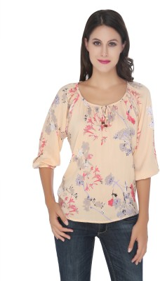 Philigree Casual 3/4 Sleeve Floral Print Women,s Pink Top