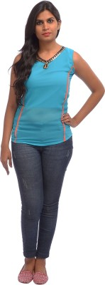 Shanu Collection Casual Sleeveless Solid Girl's Light Blue Top