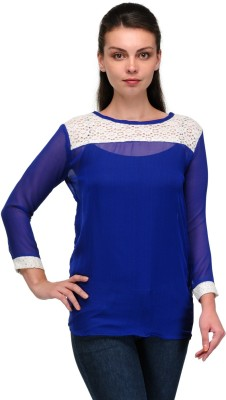 Enchanted Drapes Casual Full Sleeve Solid Women's Blue Top