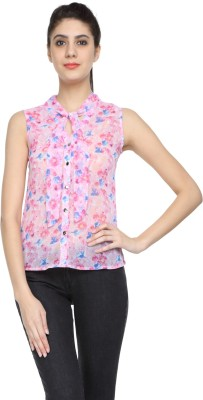 Niriksha Casual Sleeveless Floral Print Women's Pink Top