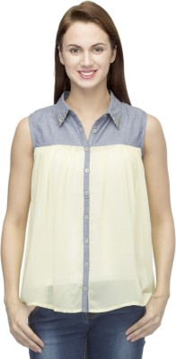 Primo Knot Casual Sleeveless Solid Women's Yellow Top