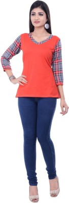 Rene Casual 3/4 Sleeve Checkered Women's Red Top
