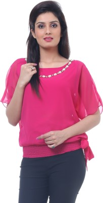 Lynda Party Balloon Sleeve Solid Women's Pink Top