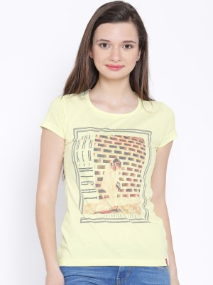Oner Casual Short Sleeve Printed Women's Yellow Top