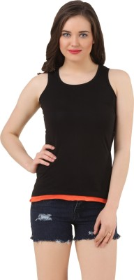 FROST Casual Sleeveless Solid Women's Black Top