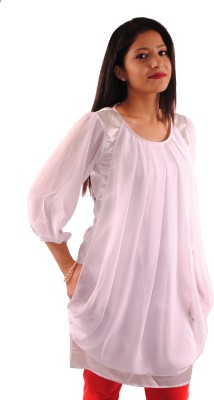 Natty India Casual 3/4 Sleeve Solid Women's White Top