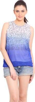 Trend Arrest Casual Sleeveless Printed Women's Blue Top