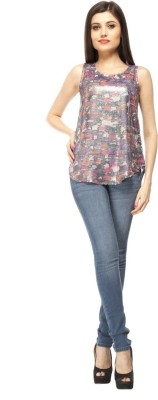 Pikucollections Party Sleeveless Printed Women's Multicolor Top
