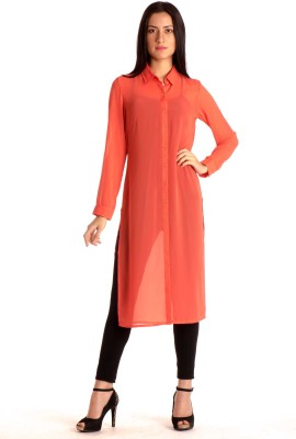 MIST ISLAND Casual Full Sleeve Solid Women's Pink, Orange Top