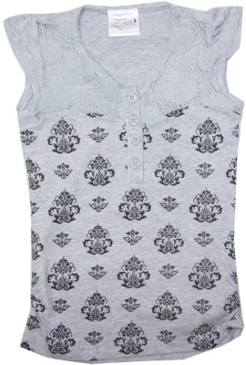 Kidsmasthi Casual Cap sleeve Printed Girl's Grey Top