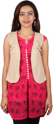 PurpleYou Casual Sleeveless Printed Women's Red Top