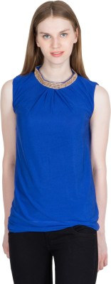 kaaf fashion Party, Festive, Wedding Sleeveless Solid Women's Blue Top