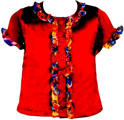 Toddla Casual Short Sleeve Solid Girl's Red Top