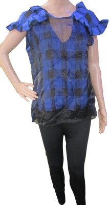 Aaradhya Boutique Casual Short Sleeve Checkered Women,s Blue Top