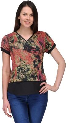 Dammifit Casual Short Sleeve Printed Women's Multicolor Top