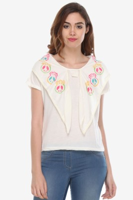 Varanga Party Short Sleeve Printed Women's White Top