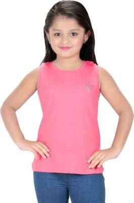 Triki Party Sleeveless Self Design Girl's Pink Top