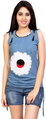 Carrel Casual Sleeveless Printed Women's Blue Top