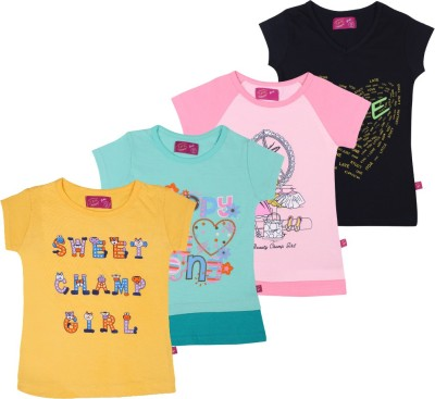 Spn Garments Casual Short Sleeve Printed Girl,s Black, Gold, Green, Pink Top