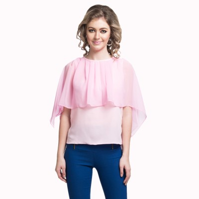 Uptownie Lite Party Short Sleeve Solid Women's Pink Top