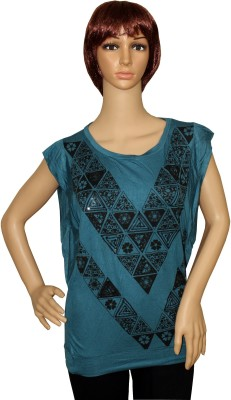 Sarva Casual, Party Short Sleeve Printed Women's Blue Top