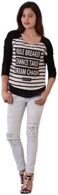 Fashnopolism Casual 3/4 Sleeve Solid Women's Black Top