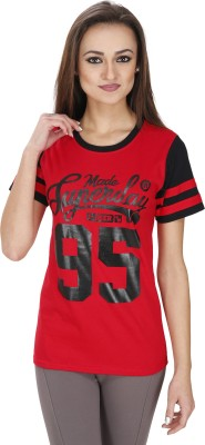 Svt Ada Collections Casual Short Sleeve Printed Women's Red Top