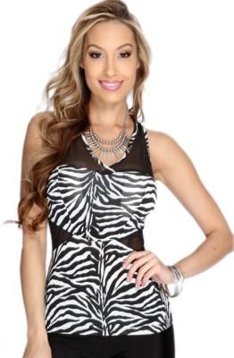 NITEIN Casual Sleeveless Animal Print Women's White, Black Top