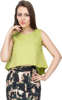 Vodka Fashion India Casual Sleeveless Solid Women's Green Top