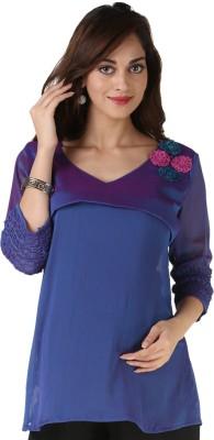 Morph Maternity Casual 3/4 Sleeve Solid Women's Purple Top