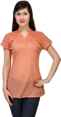 India Inc Casual Short Sleeve Solid Women's Orange Top
